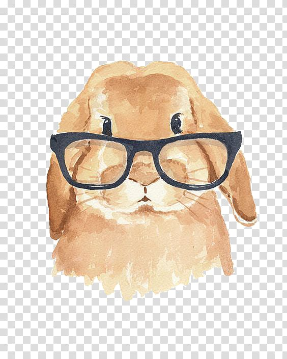 Watercolor fall hipster clipart graphic black and white stock Brown animal wearing eyeglasses illustration, Holland Lop ... graphic black and white stock