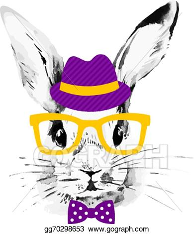Watercolor fall hipster clipart png black and white stock Vector Clipart - Hipster rabbit. hand drawn watercolor ... png black and white stock