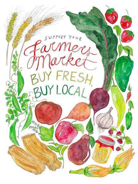 Watercolor farmers market clipart black and white Support Your Farmers Market/Buy Fresh, Buy Local: Featuring ... black and white