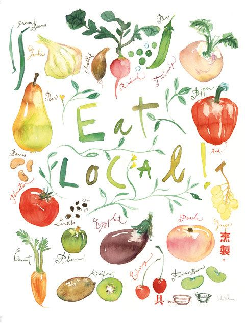 Watercolor farmers market clipart graphic freeuse library Eat Local poster, Colorful kitchen art print, Watercolor ... graphic freeuse library
