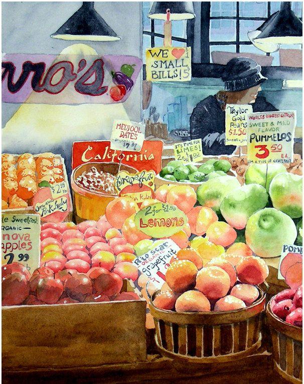 Watercolor farmers market clipart picture stock Watercolor Farmers Market at PaintingValley.com | Explore ... picture stock