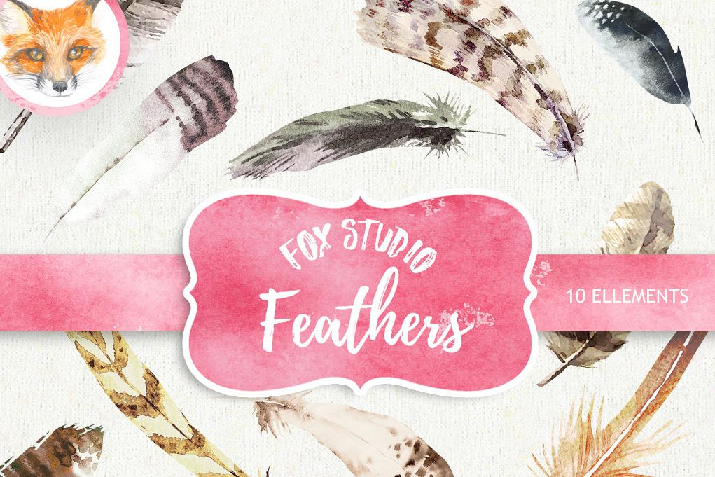 Watercolor feather heart clipart clip art royalty free download Feathers Watercolor Clipart. Hand painted, DIY elements clip art royalty free download
