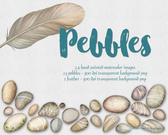Watercolor feather heart clipart banner transparent Digital watercolor clipart, Pebbles, Feather, digital ... banner transparent