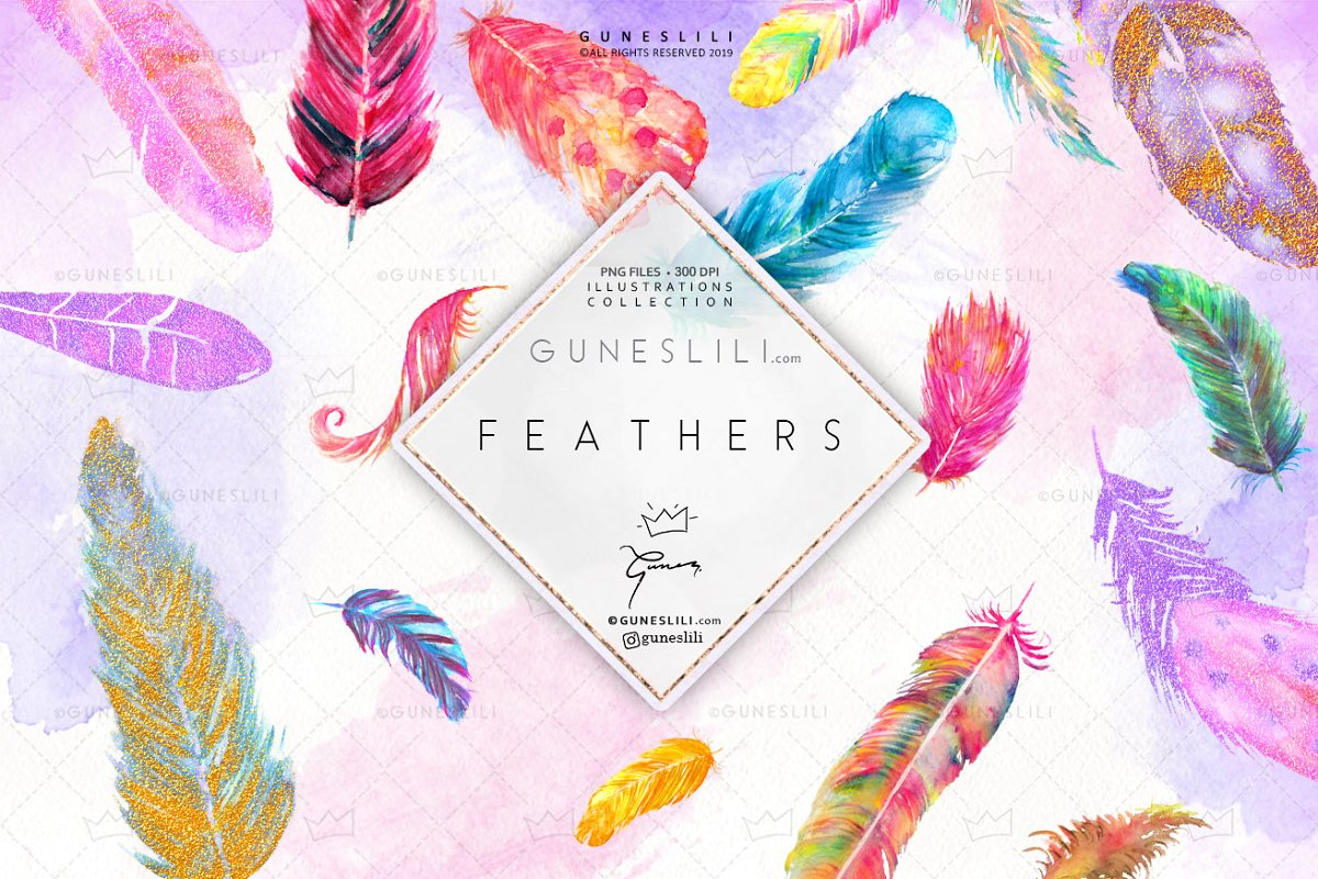 Watercolor feathers clipart banner black and white Boho Watercolor Feather Clipart banner black and white