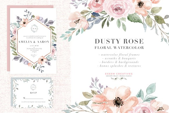 Watercolor floral border clipart jpg royalty free download Dusty Rose Watercolor Flower Clipart jpg royalty free download