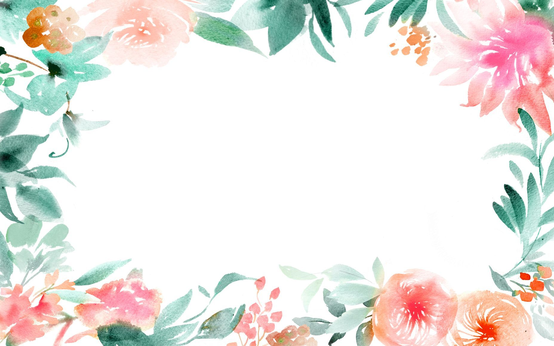 Watercolor floral border clipart jpg royalty free library 45+ Watercolor Flower Border Wallpapers - Download at ... jpg royalty free library