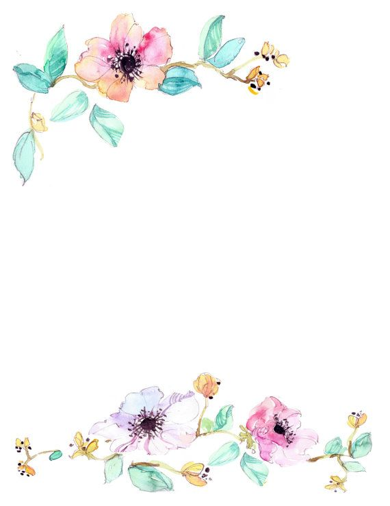 Watercolor floral border clipart banner freeuse library Downloadable watercolor floral border | art in 2019 ... banner freeuse library