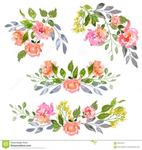 Watercolor floral cliparts image black and white stock Free Watercolor Floral Clipart at GetDrawings.com | Free for .. image black and white stock