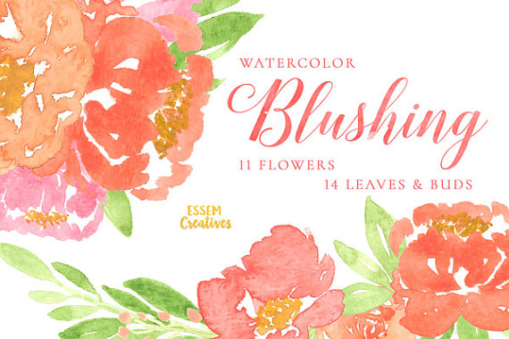 Watercolor floral wedding invitation clipart pink peonies clip free stock Coral Watercolor Peonies Clipart, Flower Clipart, Hand ... clip free stock