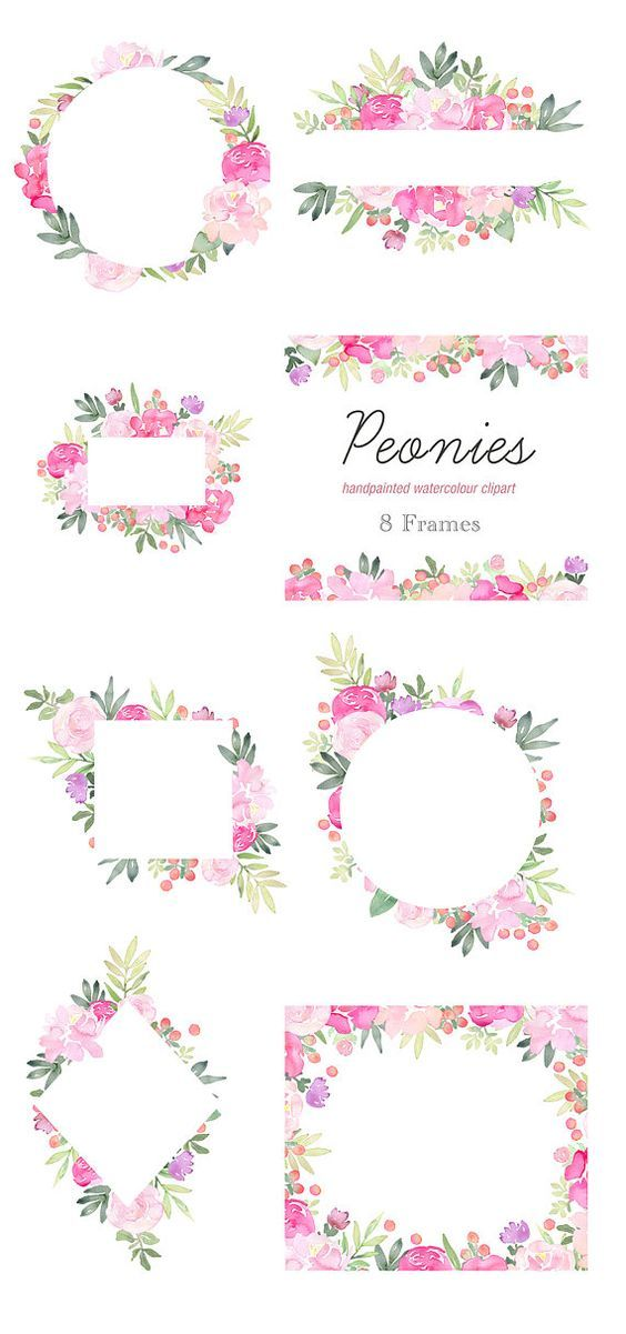 Watercolor floral wedding invitation clipart pink peonies svg library download Floral Clip Art - Peonies Flower Frames, Pink Peony Clipart ... svg library download