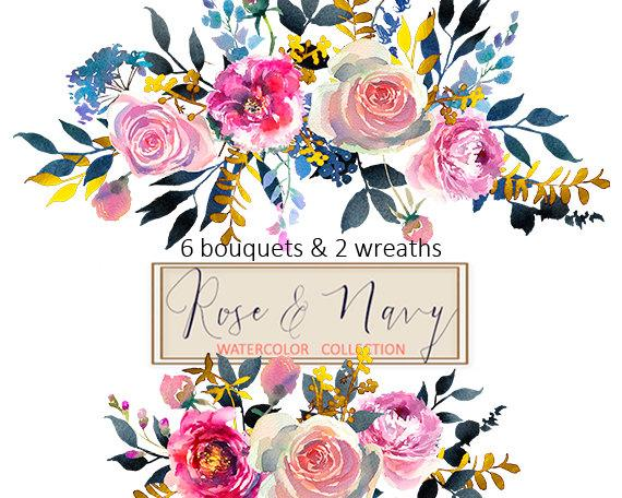 Watercolor floral wedding invitation clipart pink peonies freeuse stock Watercolor Flowers Digital Clipart PNG Bouquets Peonies ... freeuse stock