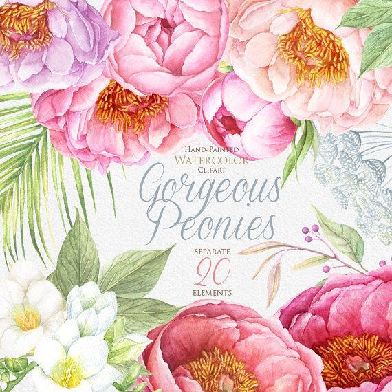Watercolor floral wedding invitation clipart pink peonies jpg royalty free download Peonies Watercolor Flowers Clipart. BOHO, Hand Painted ... jpg royalty free download