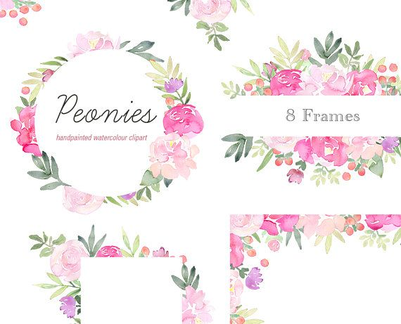 Watercolor floral wedding invitation clipart pink peonies royalty free Floral Clip Art - Peonies Flower Frames, Pink Peony Clipart ... royalty free