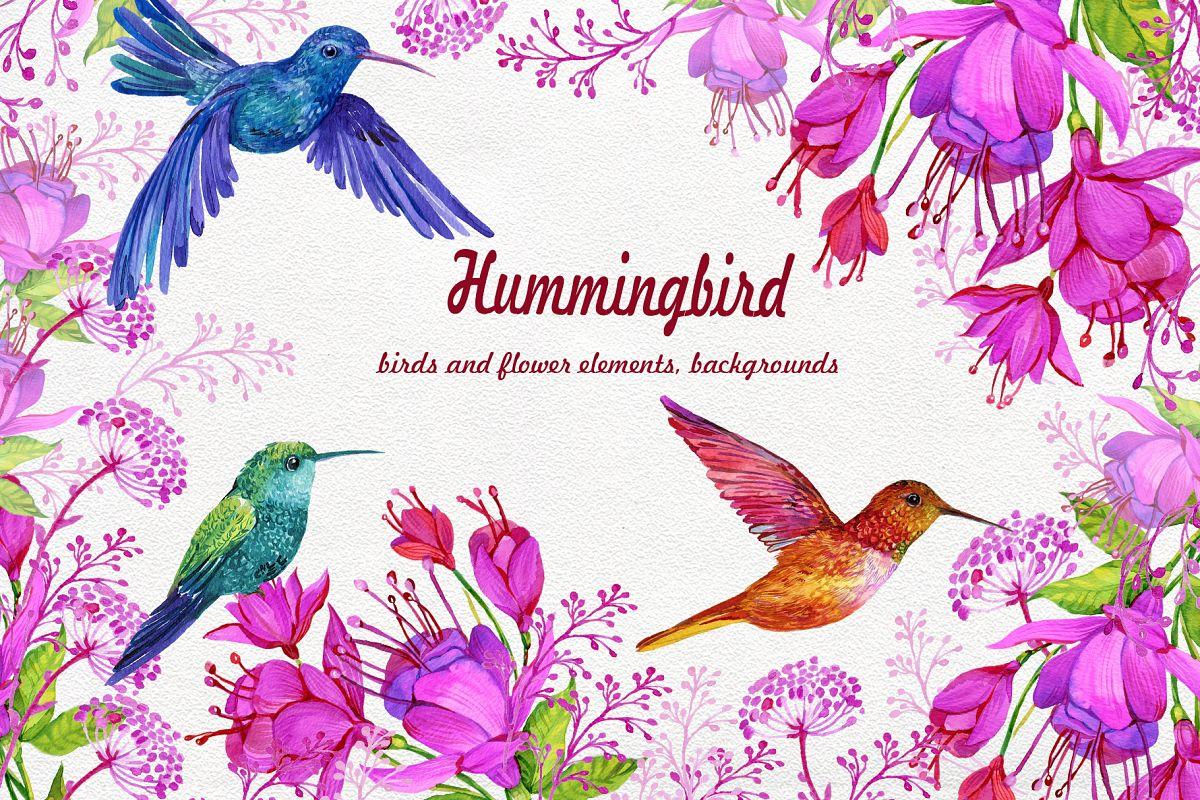 Watercolor flower bird clipart clipart free library Hummingbirds Clipart flowers. PNG watercolor painting, Birds clipart free library