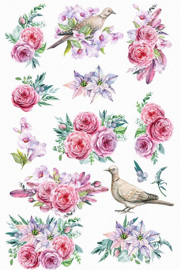 Watercolor flower bird clipart svg transparent download Flower and bird Clipart. Watercolor svg transparent download