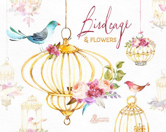 Watercolor flower bird clipart jpg download Birdcage & Flowers. Watercolor Floral clipart, birds, roses ... jpg download