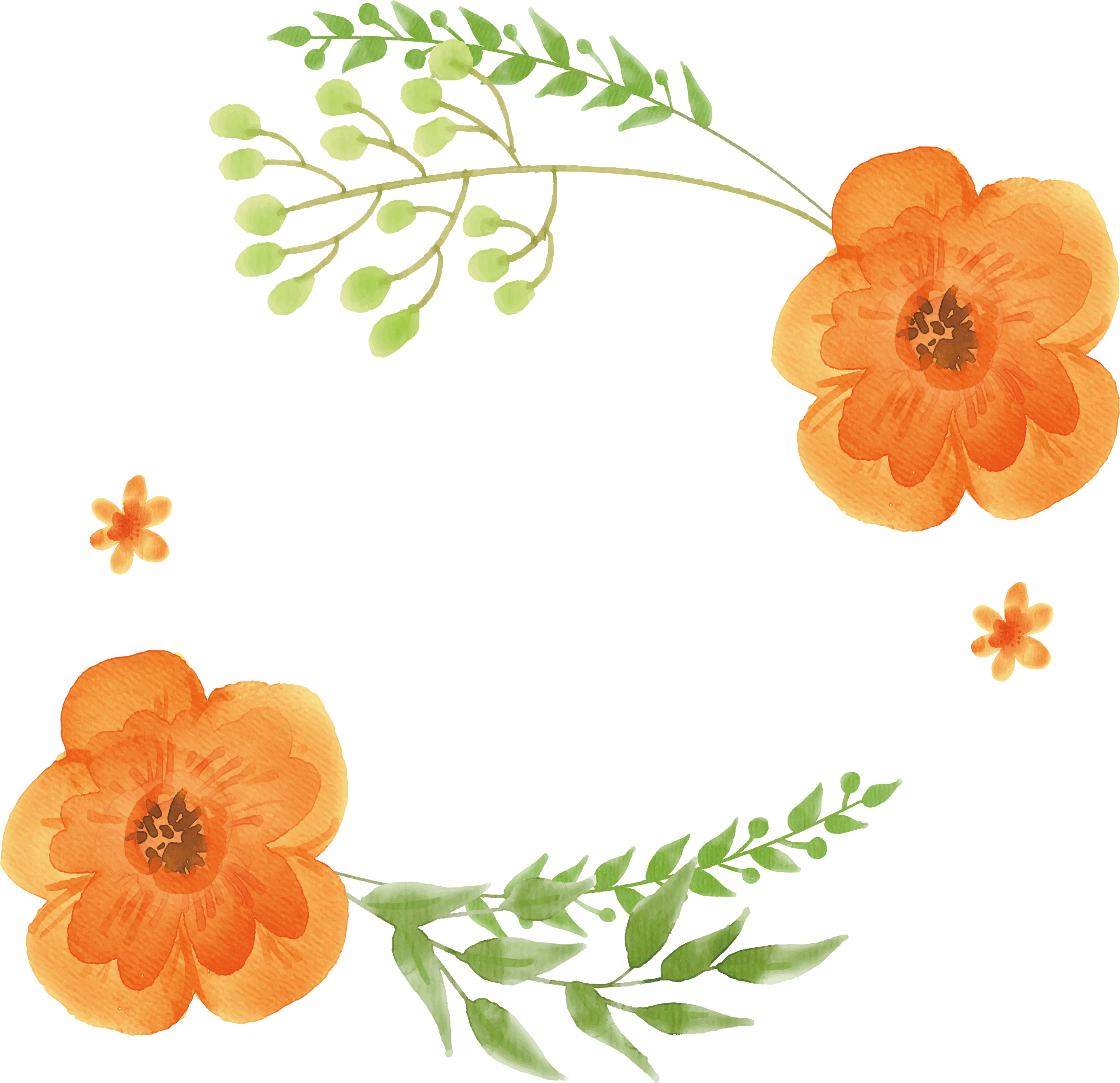 Flower clipart orange graphic transparent library Watercolor: Flowers Orange Watercolor painting - Orange watercolor ... graphic transparent library