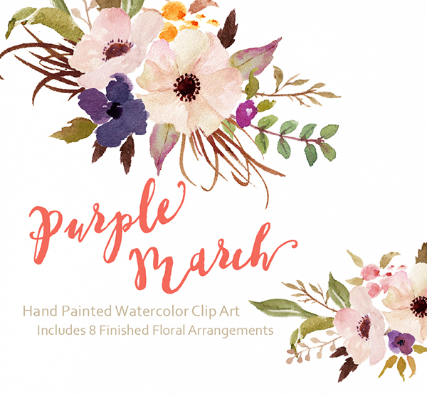 Watercolor flower clipart black and white library Watercolor flower Clip Art-Purple March/Individual PNG on Behance black and white library