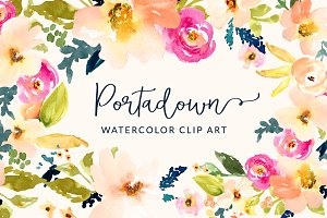 Watercolor flower clipart svg black and white download Watercolor flowers Photos, Graphics, Fonts, Themes, Templates ... svg black and white download