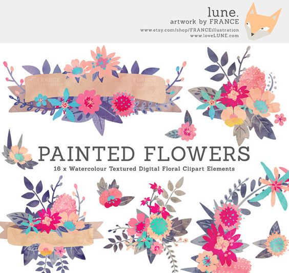 Watercolor flower clipart clip art freeuse library GET 3 FOR 2. Watercolor Flower Clipart Wreaths, Banners + Bouquets ... clip art freeuse library