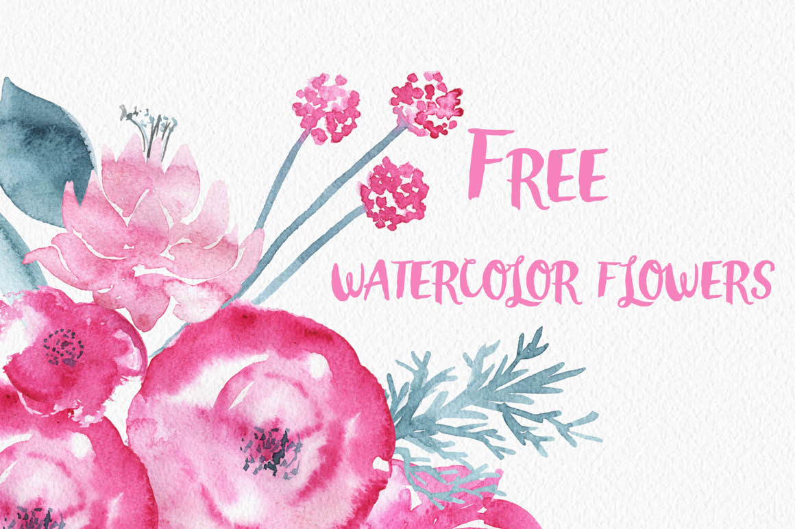 Watercolor flower clipart free banner black and white stock Pink watercolor flowers clipart - ClipartFest banner black and white stock