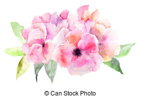 Watercolor flower clipart free picture black and white stock Pink watercolor flowers clipart - ClipartFest picture black and white stock