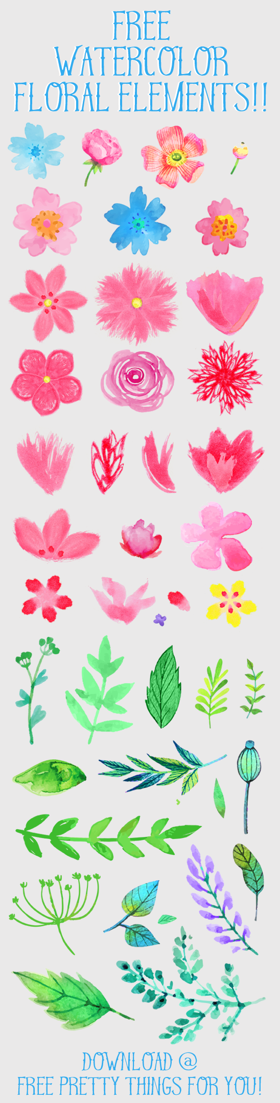Watercolor flower clipart free image royalty free download Free Watercolor Flower ClipArt - Free Pretty Things For You image royalty free download