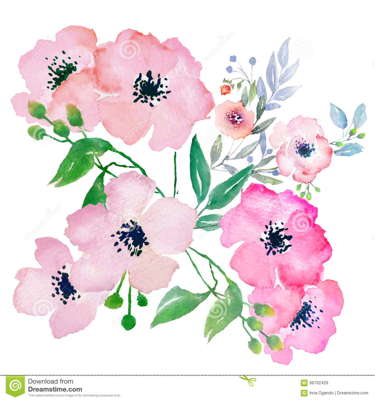 Watercolor flower clipart free clipart freeuse Watercolor Flowers, Clip Art Stock Illustration - Image: 66702429 clipart freeuse