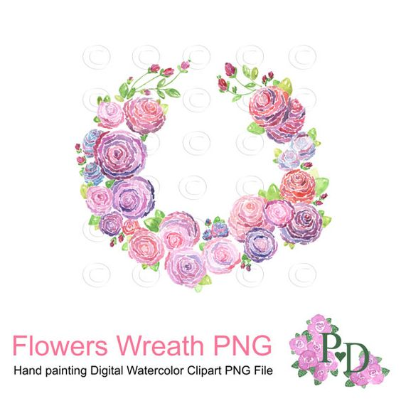 Watercolor flower clipart no background clip transparent library Watercolor Floral Wreath Clip Art, Pink and Purple Wedding Clip ... clip transparent library