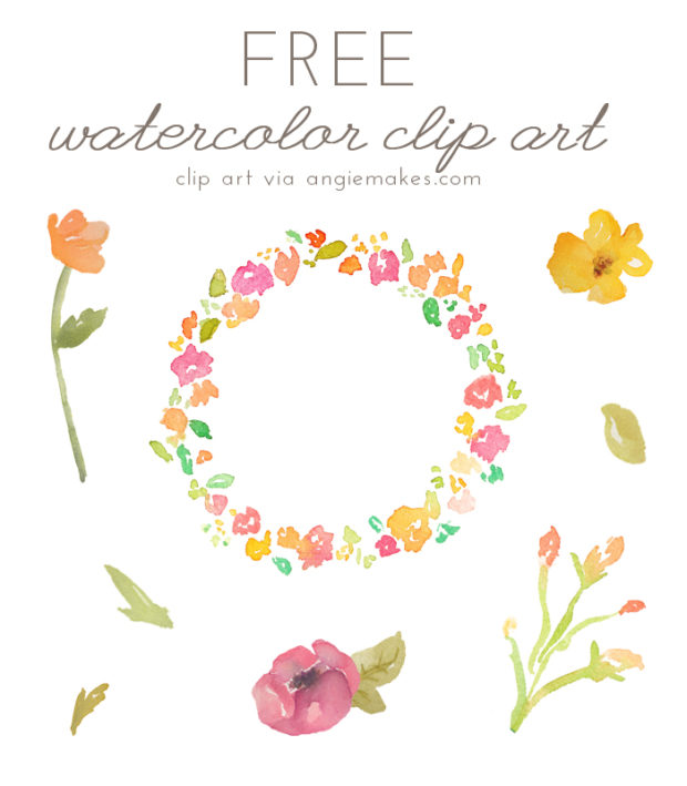 Watercolor flower clipart no background vector transparent download Free Girly Graphics and Watercolor Clip Art- Angie Makes vector transparent download