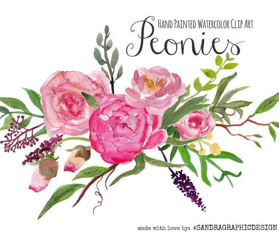 Watercolor flower clipart png jpg download Floral clip art: