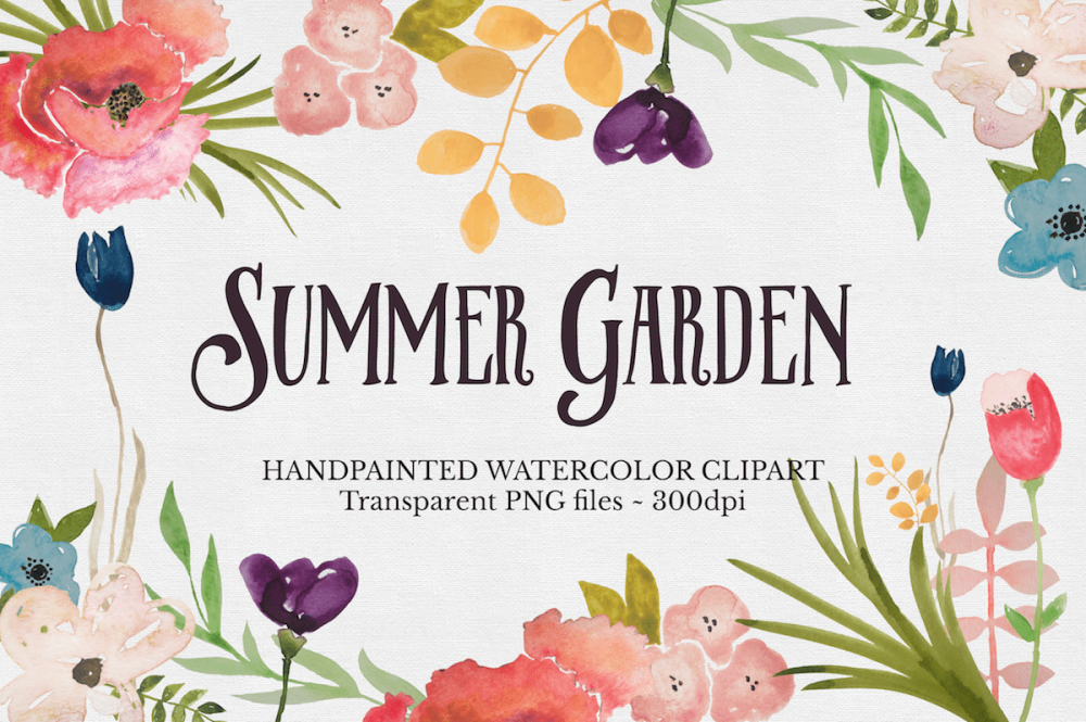 Watercolor flower clipart png png freeuse download Hand painted Watercolor Flowers Clipart Files - The Autumn Rabbit png freeuse download