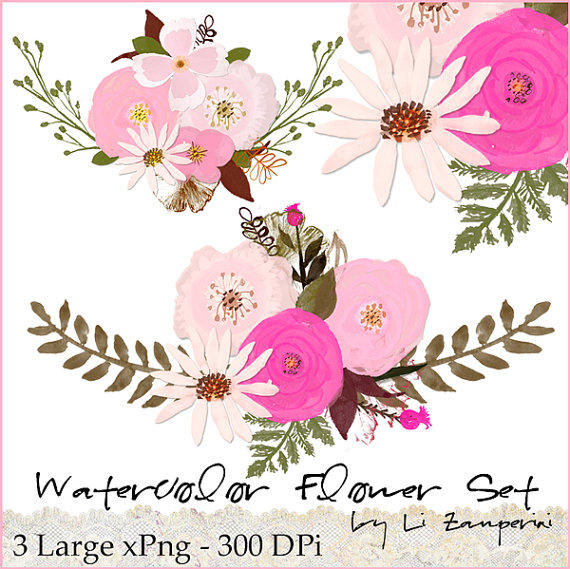 Watercolor flower clipart png graphic free download Watercolor Flowers Clipart Files - High from Digitalbyli on Etsy graphic free download