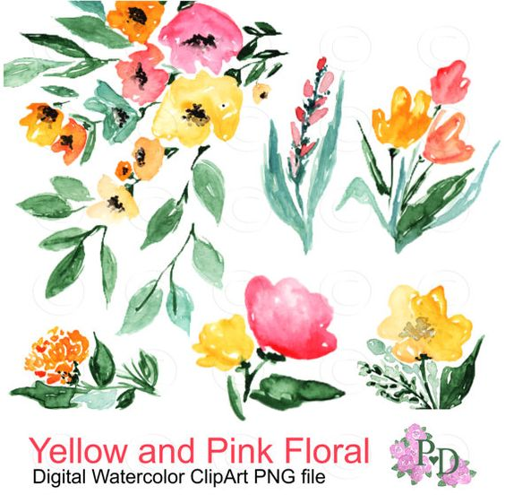 Watercolor flower clipart png vector library Watercolor Flower Autumn Clipart, Digital Watercolor, Fall Clipart ... vector library