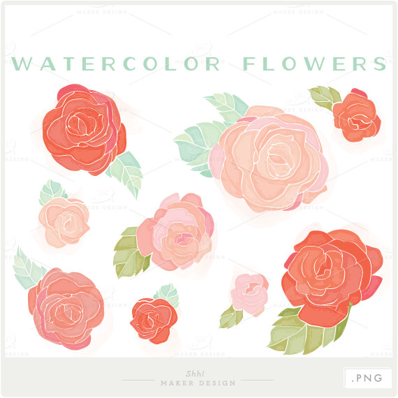 Watercolor flower clipart png image black and white library Watercolor Flowers PNG files Digital Clip Art image black and white library