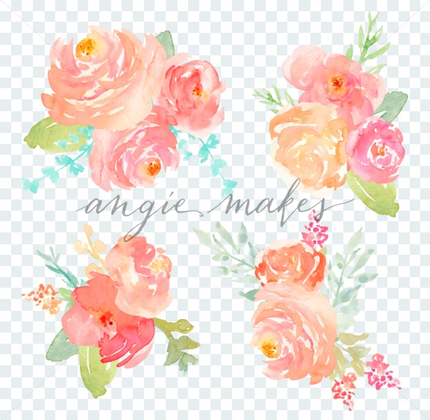 Watercolor flower pink clipart svg free library Pink Watercolor Flowers Bouquet with Hand Painted Watercolor Flower  Elements. So Cute to Use as Watercolor Flower Clip Art! svg free library