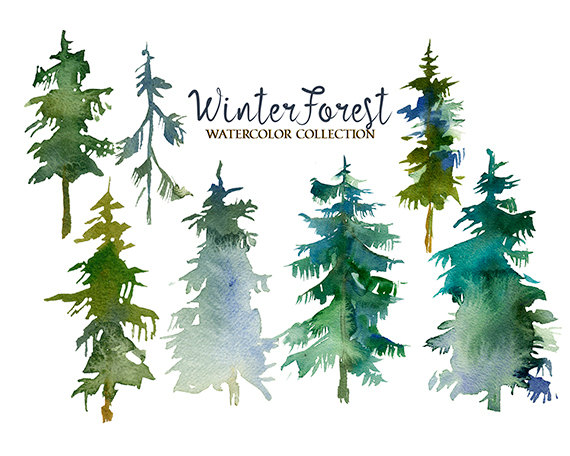 Watercolor forrist free clipart picture royalty free stock Pine Trees Watercolor Clipart Fir Trees PNG Christmas Winter ... picture royalty free stock