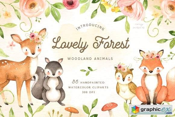 Watercolor woodland animals clipart free vector download Lovely Forest Watercolor Clip Art » Free Download Vector ... vector download