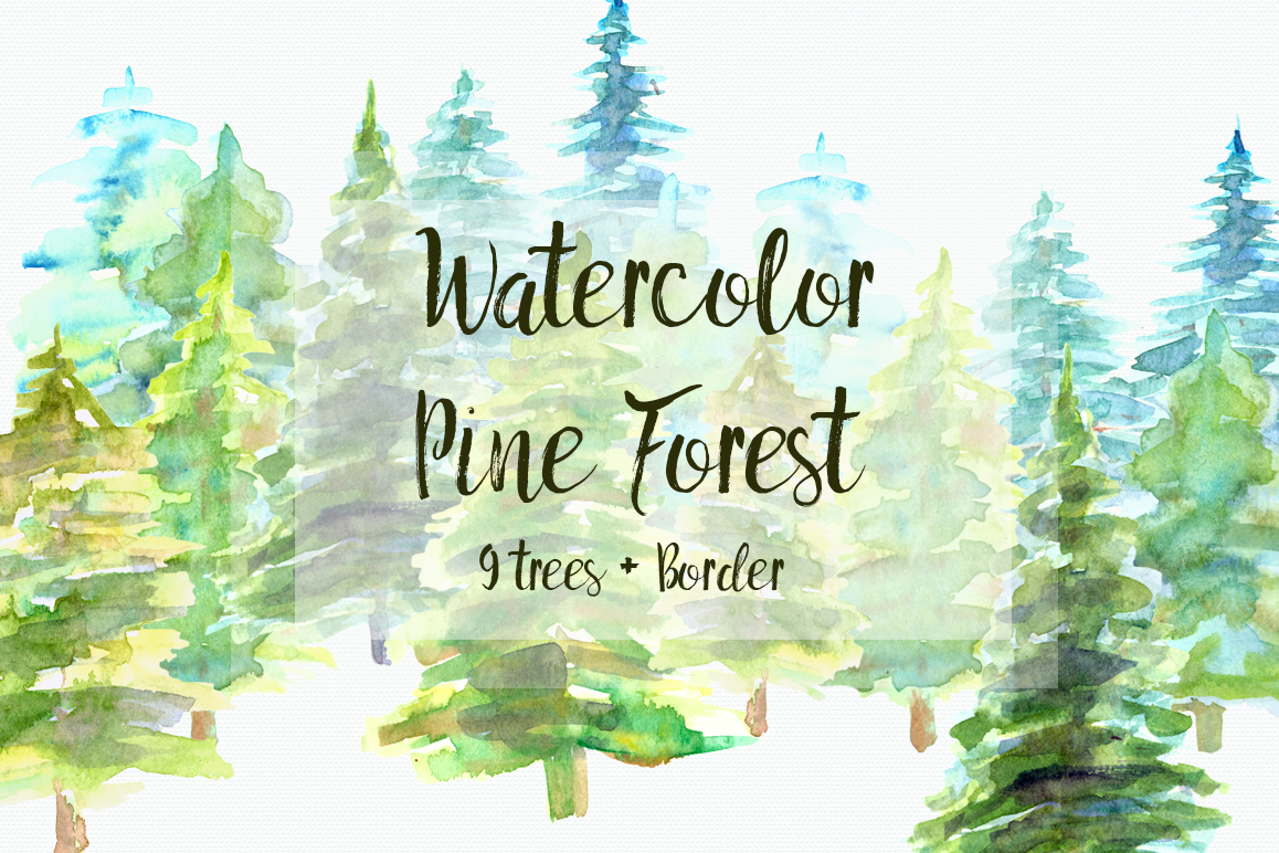 Watercolor forrist free clipart svg black and white library Watercolor Pine Trees Clip Art svg black and white library