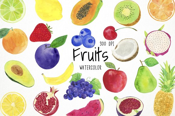 Watercolor fruit clipart free stock Watercolor Fruits Clipart free stock