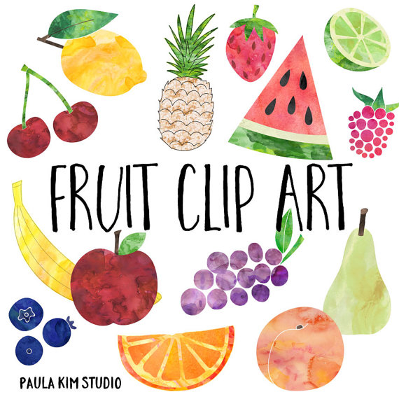 Watercolor fruit clipart png freeuse Watercolor Fruit Clip Art, Fruit Clipart, Instant Digital ... png freeuse