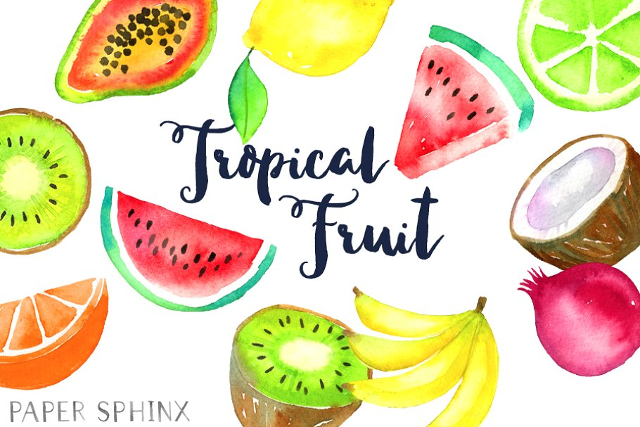 Watercolor fruit clipart clip art free library Watercolor Tropical Fruit Clipart clip art free library
