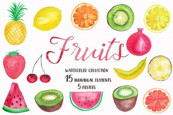 Watercolor fruit clipart clip art free Watercolor Fruits Collection clip art free