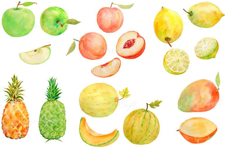 Watercolor fruit clipart picture black and white Digital watercolour fruits - green apples, lemons, peaches, pineapple,  mango, yellow melon clipart printable instant download picture black and white