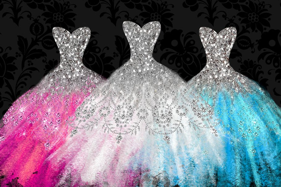 Watercolor gown clipart clip black and white stock Watercolor Glitter Dress Clipart clip black and white stock