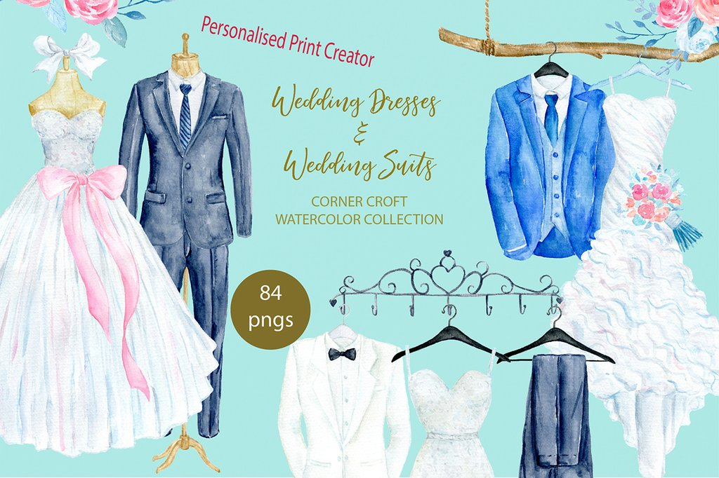 Watercolor gown clipart vector black and white stock Watercolor Clipart Corner Croft vector black and white stock