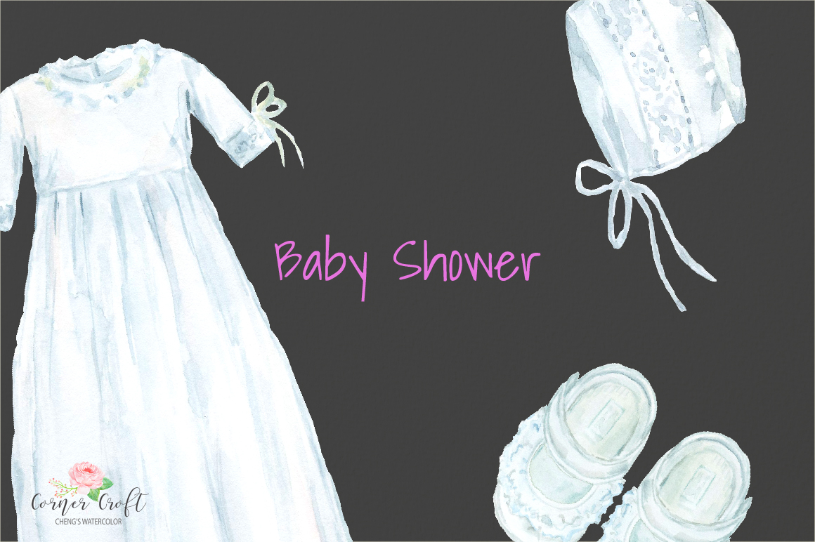 Watercolor gown clipart banner royalty free library Watercolor Clipart Baby Shower, Baby Cloth, Pram, Crib, Christening Gown,  Dress banner royalty free library