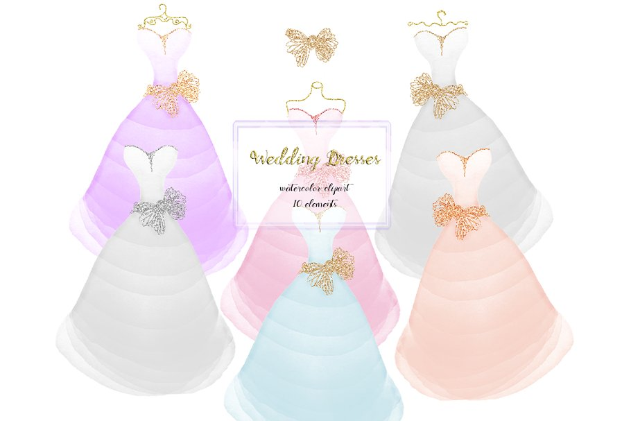 Watercolor gown clipart banner royalty free stock Wedding dresses clipart, glitter banner royalty free stock