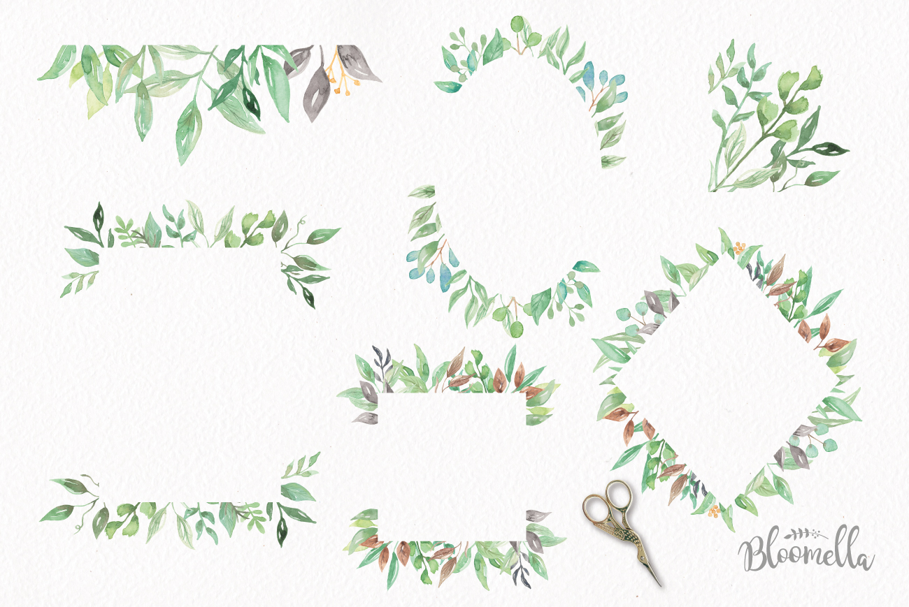 Watercolour leaves clipart clip freeuse download Watercolor Leaf Frames Green Leaf Clipart Borders clip freeuse download