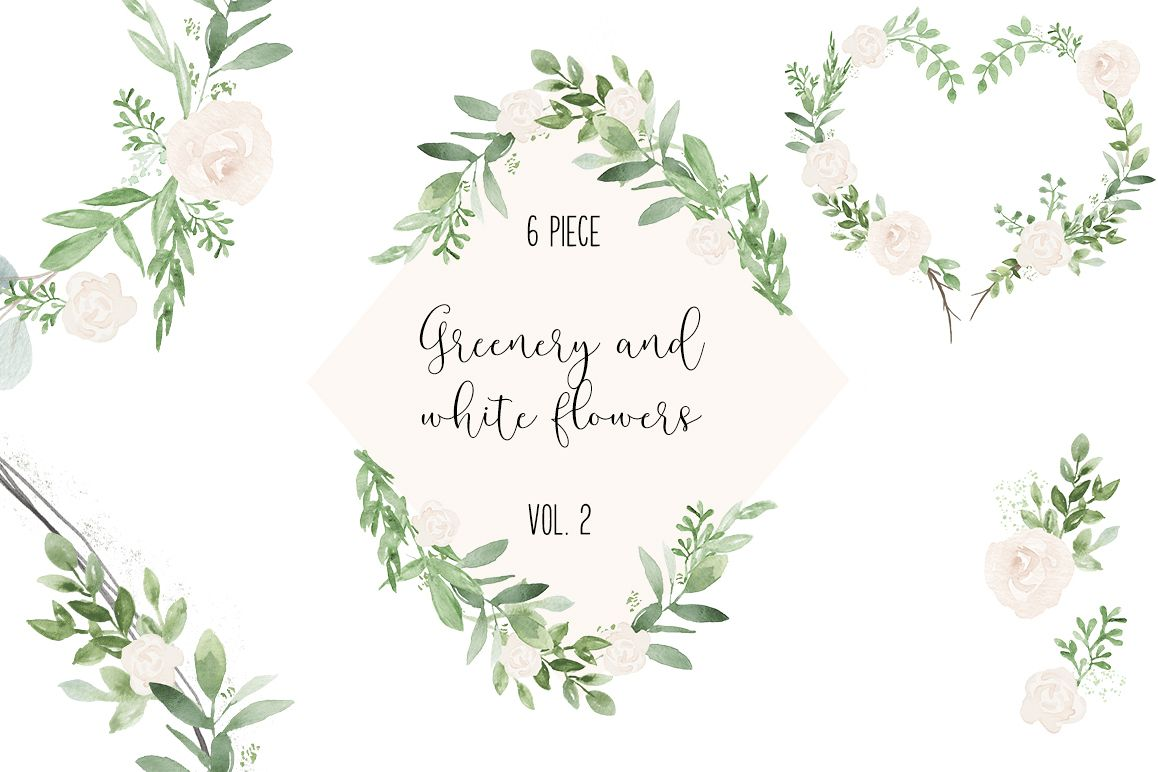 Watercolor greenery clipart svg free Greenery and white wedding watercolor clip art Illustrations svg free